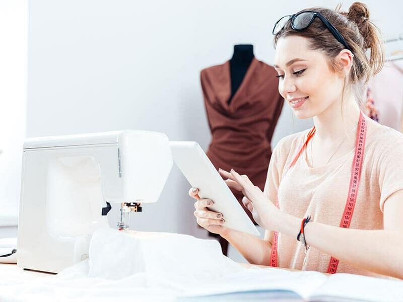 Woman Check Information Sewing Machine