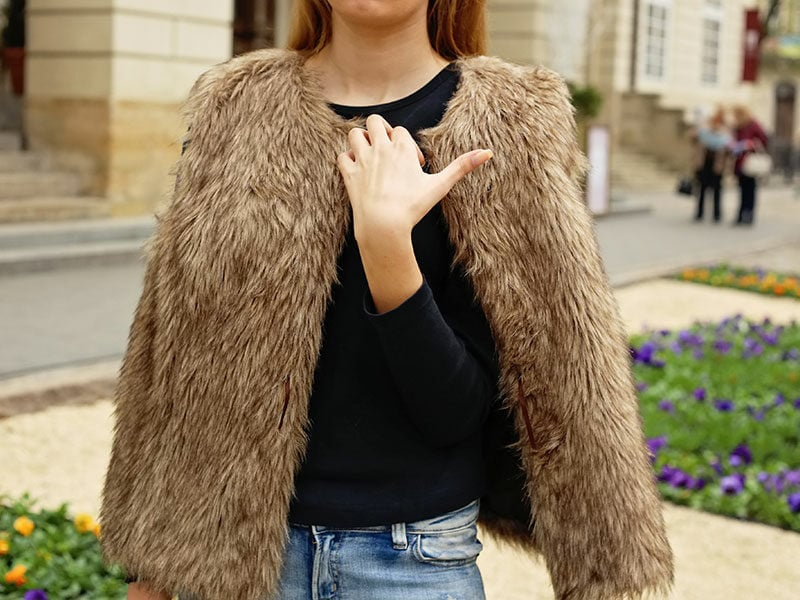 Woman Wearing Faux Fur Vest